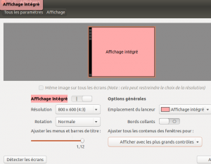 Ubuntu affichage intégré