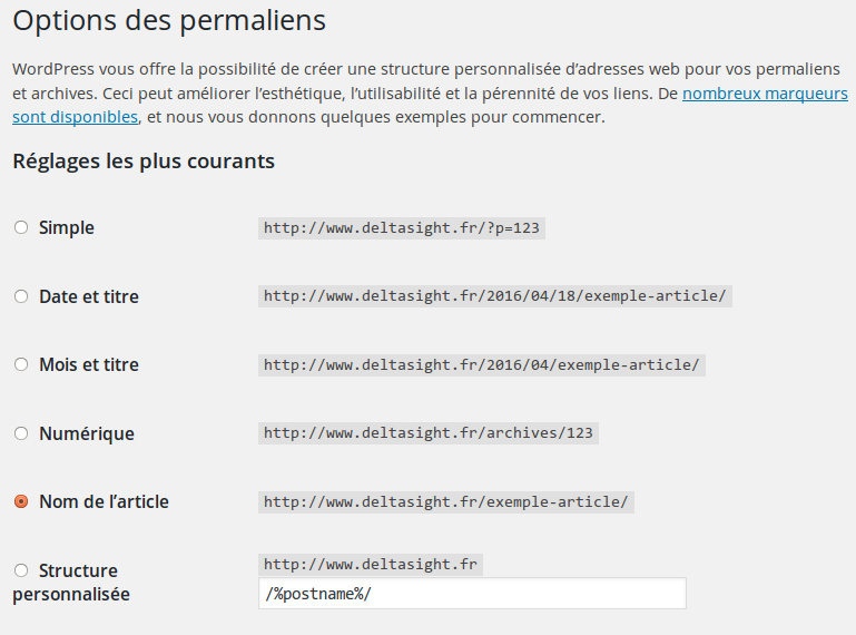 Réglage des permaliens dans WordPress