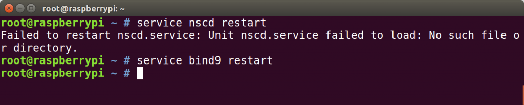 Redémarrage de nscd (absent ici) et bind9