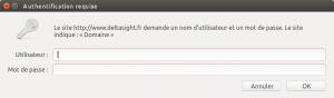 Demande d'authentification vue par Firefox