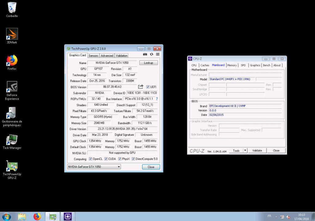 GPU-Z qui affiche les bonne valeurs et CPU-Z qui indique le BIOS OVMF