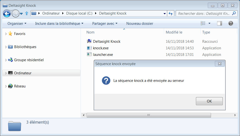 Client Knock Windows avec fenêtre de validation